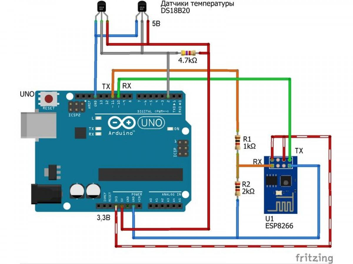 Arduino + ESP8266. Передача показаний с двух датчиков температуры на WEB сервис http://open-monitoring.online